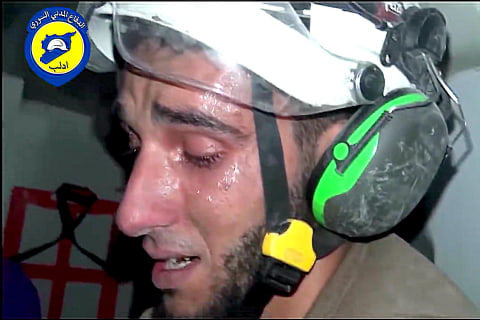 White Helmet Volunteer's Tears Show Toll of Syria War