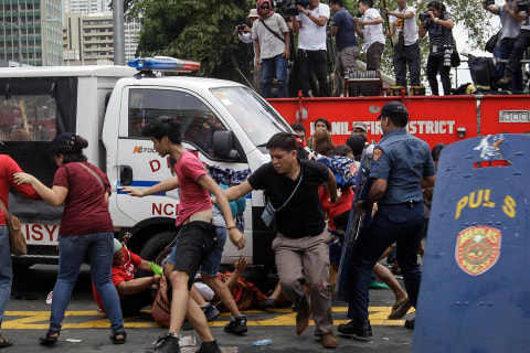 Police Truck Rams Protesters Outside U.S. Embassy in Manila
