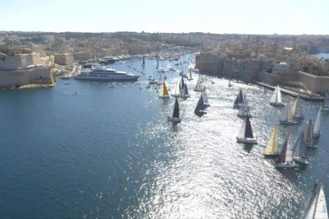 Watch 100 Yachts Set Out from Valletta