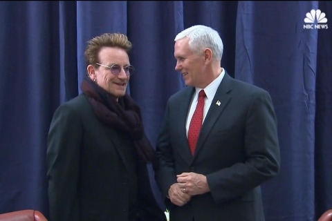 Bono Greets VP Pence at Surprise Meeting in Germany