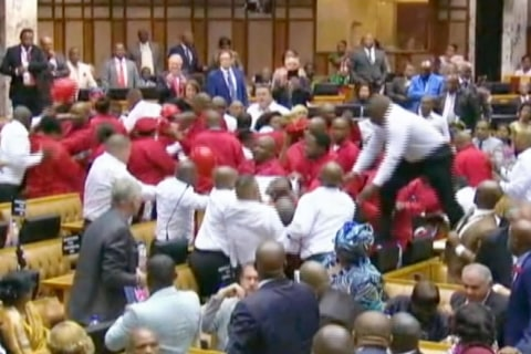 Mass Brawl Breaks Out in South African Parliament