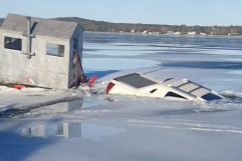 Truck Takes Polar Plunge Into Frozen Lake