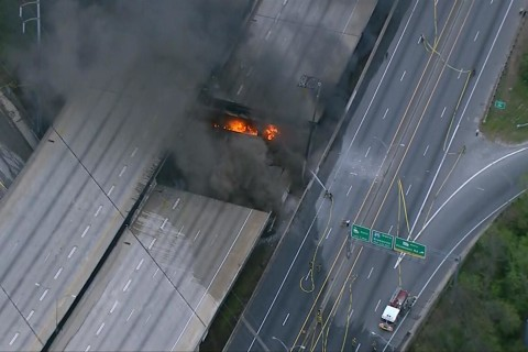 Fire Shuts Down Section of Interstate During Rush Hour