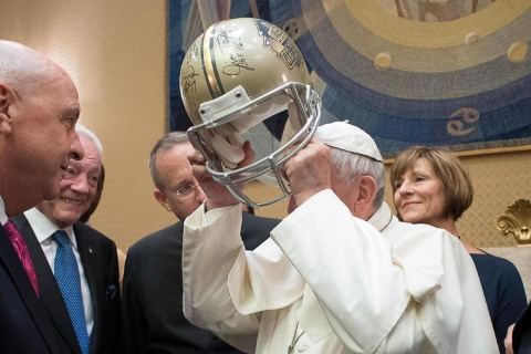 Pope Jokes With Pro Football Hall of Famers