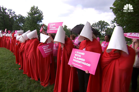 'Handmaids' Protest Healthcare Bill Outside U.S. Capitol