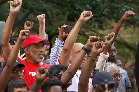 Supporters of Colin Kaepernick Rally at NFL Headquarters