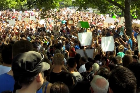 Thousands of protesters turn out from coast to coast in response to Charlottesville
