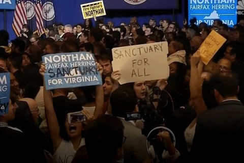 Protesters Interrupt Northam's Victory Speech