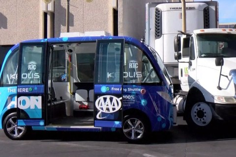 Driverless Shuttle Hit by Truck on First Outing