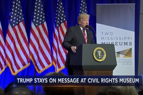 Trump's visit to Mississippi Civil Rights Museum underscores national tension