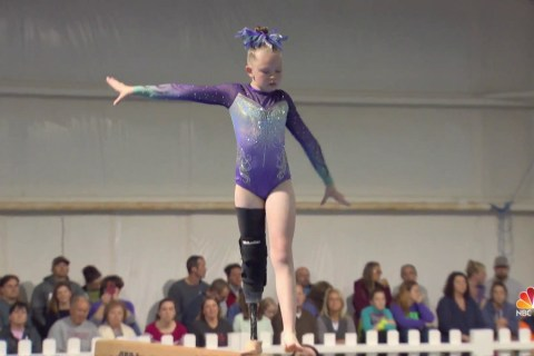 Young gymnast with prosthetic leg is breaking boundaries