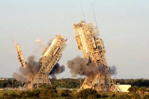 NASA towers demolished at Cape Canaveral