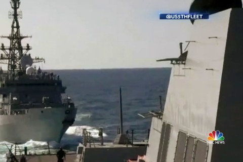 Video shows Russian spy ship dangerously close to U.S. Navy destroyer