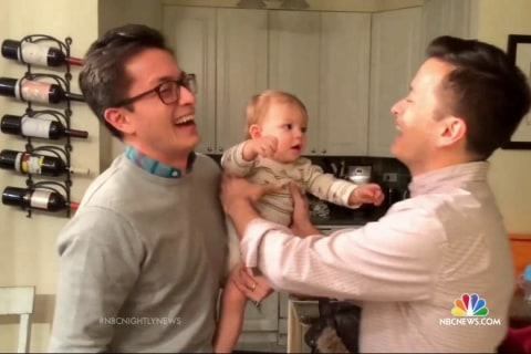 Confused Baby Can't Figure Out Which Twin Is His Dad in Viral Video