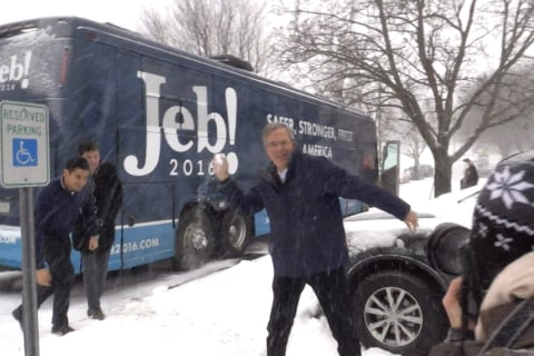 Jeb Bush Hurls Snowball at NBC News Reporter