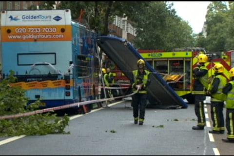 London Tour Bus Hits Tree, Roof Ripped Off