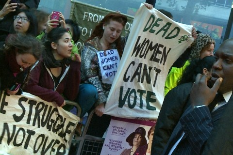Modern Day Suffragettes Ambush 'Suffragette' Movie Red Carpet