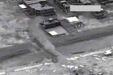 Coalition Aistrikes on ISIS Roadblock, Staging Post Near Tikrit