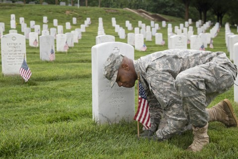 Soldiers Reflect on Service While Placing Flags at Arlington National Cemetery
