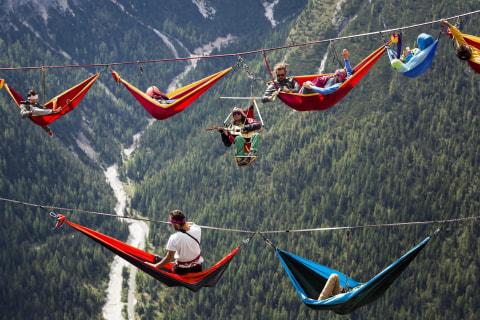 Highliners Take a Hammock Break in the Italian Alps
