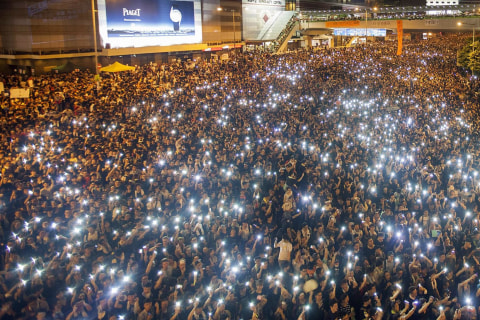 Hong Kong Streets Light Up for Democracy