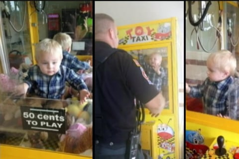 Toddler Stuck After Crawling Into Claw Machine