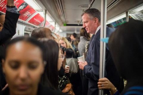 New York Mayor Bill de Blasio Rides Subway to Stem Ebola Fears