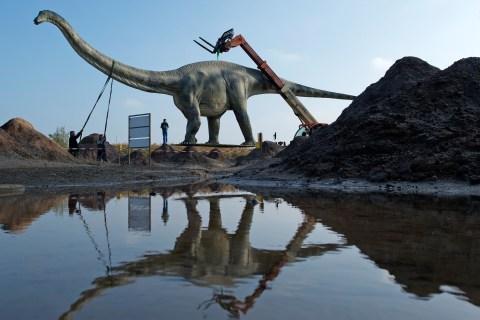 Dinosaur Statue Moved as German Authorities Fear Traffic Mayhem