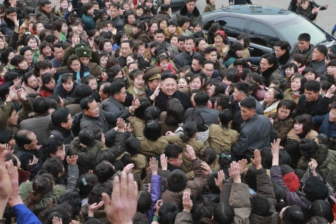 Adoring Crowd Surrounds Kim Jong Un in North Korea