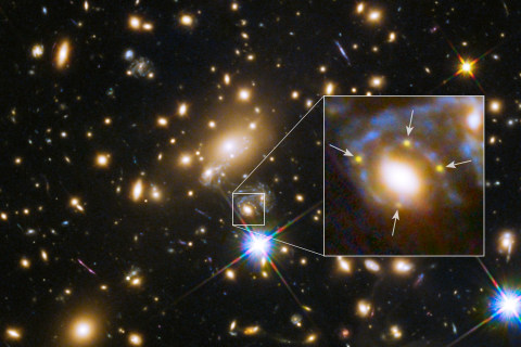 Hubble's 'Einstein Cross' Marks the Space-Warping Spot