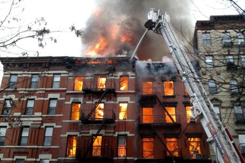 New York City Firefighters Battle Blaze After Massive Explosion