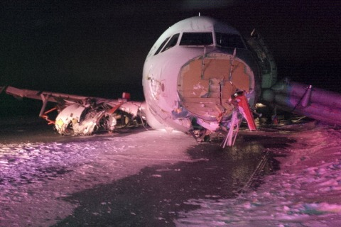Photo Shows Nose Sheared Off Air Canada Plane After Skidding off Runway