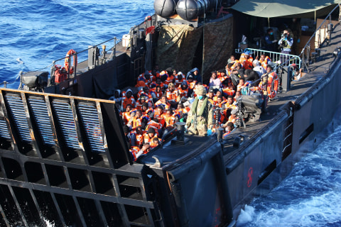 Royal Navy Ship HMS Bulwark Rescues Hundreds of Migrants Off Libyan Coast