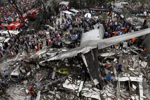 Military Plane Crashes in Indonesia Neighborhood