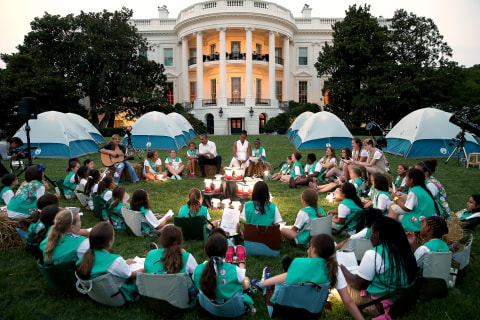 Girl Scouts Campout on White House Lawn