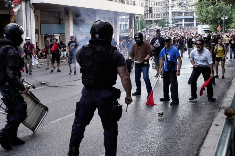 Greece Debt Crisis: Police Use Stun Grenades in Clashes Ahead of Vote