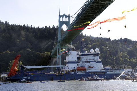 Greenpeace Protesters Blocking Oil Ship Rappel Down From Portland Bridge