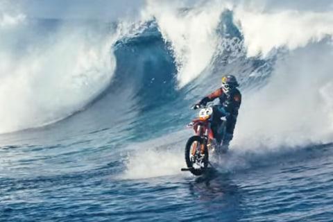 Motocross Rider 'Surfs' in Tahiti on His Bike