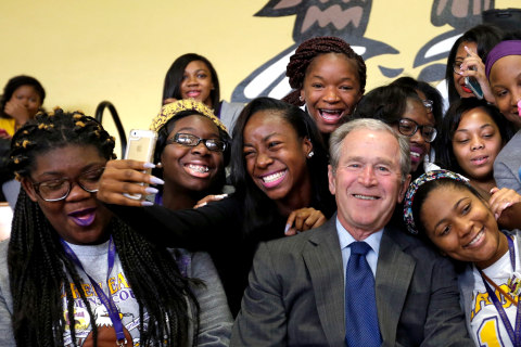Ten Years After Katrina, George W. Bush Returns to 'Resilient' New Orleans School