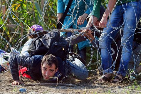 Migrants Brave Razor Wire in Hungary to reach European Union