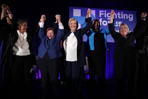 Clinton Basks in Glow of Women Senators — With One Absence