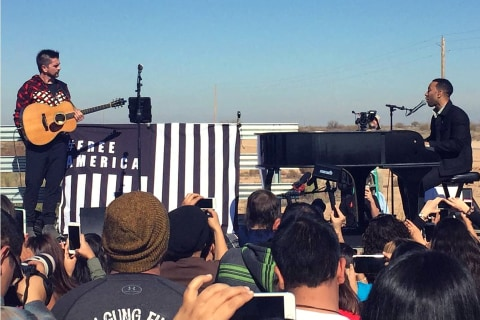Juanes, John Legend Perform Outside Immigration Detention Center
