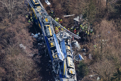 Trains Collide in Bad Aibling, Germany, Killing 10 and Injuring Scores