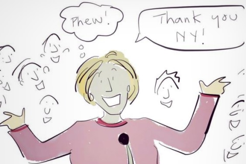 Cartoonist Liza Donnelly Captures Hillary Clinton's Relief at N.Y. Win