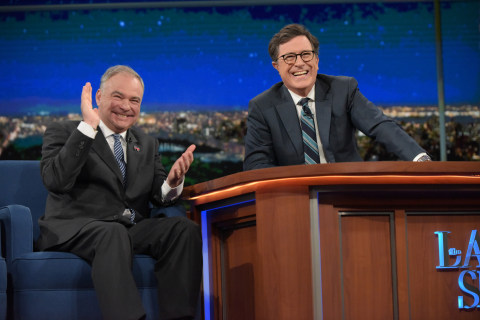 Tim Kaine Scoffs at Trump's 'Bigot' Attack on 'Late Show With Stephen Colbert'