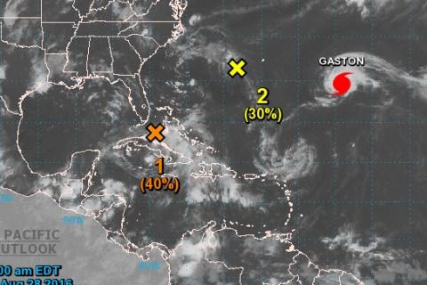 Hurricane Gaston Reforms in Atlantic Ocean