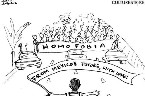 Cartoonist Honors Young Boy Who Blocked Anti-LGBT March in Mexico