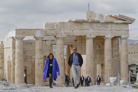 President Obama Tours Acropolis in Democracy's Birthplace