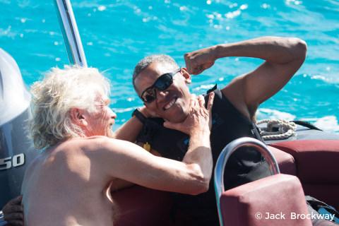Obama Kite Surfs With Richard Branson in Virgin Islands Holiday