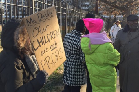 'Our Children Are Not Props': Parents Protest Betsy DeVos